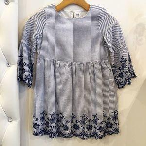 Blue crochet striped dress